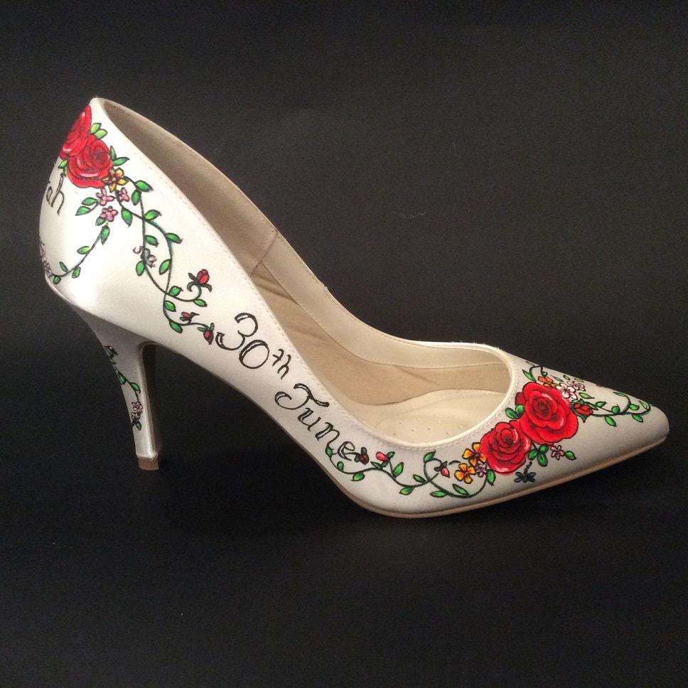 Custom Made Bridal Shoes Uk: Tattoo Rose Hand Painted Wedding Shoe Design